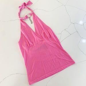Pink Y2K Tie Halter Top